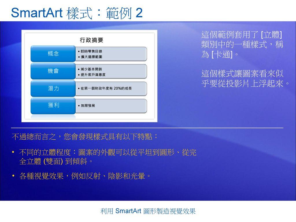 SmartArt 樣式:範例 2 這個範例套用了 [立體] 類別中的一種樣式,稱 為 [卡通]。